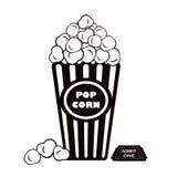 De popcorn en laat één bioskoopkaartje toe Stock Foto's
