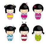 De poppen van Kokeshi Royalty-vrije Stock Afbeeldingen