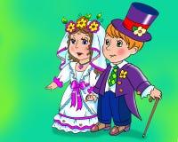 De poppenhuwelijk van Cartoony Royalty-vrije Stock Foto