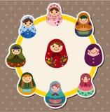 De poppenkaart van het beeldverhaal Stock Foto