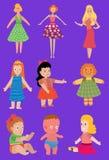 De poppenstuk speelgoed van het babybeeldverhaal kleden de Vectorkaraktermeisjes, het jongens menselijke gezicht en het lichaamss Stock Foto