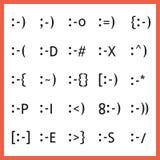 De populaire het type van gelaatsuitdrukkingdoopvont karaktergezichten emoticons plaatsen Stock Foto