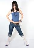 De populaire uitvoerder van de vrouwenmuziek Stock Foto