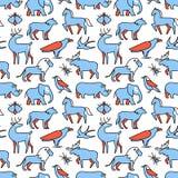 De populaire wilde pictogrammen van het levensdieren stock illustratie