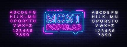 De Populairste vector van het neonteken Het Populairste teken van het Ontwerpsjabloonneon, lichte banner, neonuithangbord, nightl stock illustratie