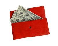 De portefeuille van het geld het rode, gelukkige winkelen Royalty-vrije Stock Foto's