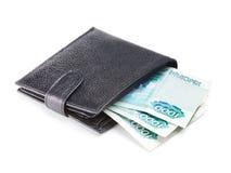 De portefeuille van het leer met contant geld Royalty-vrije Stock Foto's