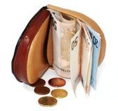 De portefeuille van het leer met euro Stock Foto