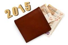 De portefeuille van het leer met geld Stock Fotografie