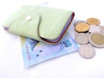 De portefeuille van het leer met geld Royalty-vrije Stock Afbeeldingen