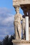 De Portiek van de Kariatiden in Erechtheion bij Akropolis van Athene, Attica, Griekenland royalty-vrije stock foto
