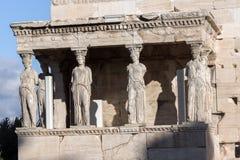 De Portiek van de Kariatiden in Erechtheion bij Akropolis van Athene, Attica, Griekenland stock afbeelding