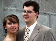 De portretten van de bruid en van de bruidegom stock afbeelding