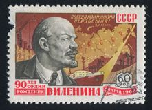 De Portretten van Lenin en Kaart van Rusland stock fotografie