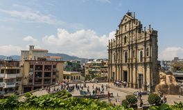 De Portugese architectuur van Oude Stad Macao, China stock afbeelding