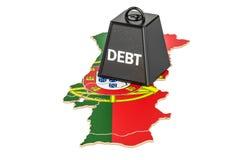De Portugese nationale schuld of het begrotingstekort, financiële crisis bedriegt Royalty-vrije Stock Foto