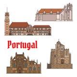 De Portugese reisoriëntatiepunten verdunnen de reeks van het lijnpictogram stock illustratie