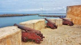 De Portugese stad bij Gr Jadida, Marokko stock foto's
