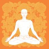 De positie van de yogalotusbloem Stock Afbeelding