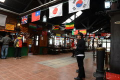 De post is de meest zuidelijke spoorweg in de wereld Stock Foto's