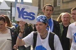 De post Schotse Manifestatie 2014 van het Onafhankelijkheidsreferendum Royalty-vrije Stock Foto