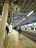 De post van BTS skytrain in Bangkok, Thailand Royalty-vrije Stock Afbeeldingen