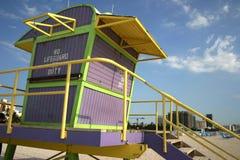 De post van de badmeester, het strand van Miami Stock Afbeeldingen