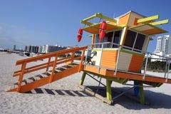 De post van de badmeester, het strand van Miami Stock Foto
