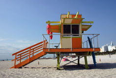 De post van de badmeester, het strand van Miami Stock Foto's