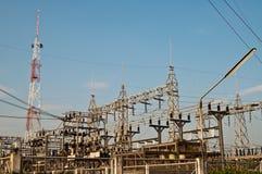 De post van de elektriciteit bij provincie Nakhonnayok Royalty-vrije Stock Foto