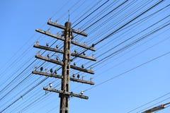 De post van de elektriciteit met blauwe hemel Royalty-vrije Stock Afbeelding