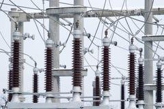 De post van de elektrische centraletransformator Royalty-vrije Stock Foto's