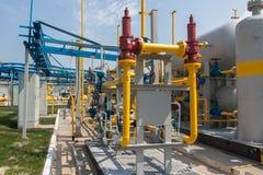 De post van de gascompressor Stock Fotografie