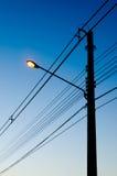 De Post van de lamp in de ochtend Stock Afbeelding