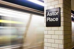 De Post van de Metro van de Plaats van Astor, New York Royalty-vrije Stock Foto