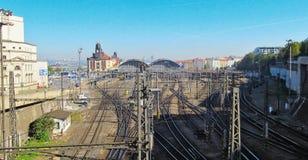 De post van de spoormanier in Praag (Tsjechische Republiek) Stock Foto's