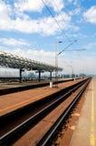 De post van de spoorweg stock fotografie