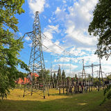 De post van de transformator stock foto
