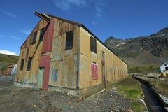 De post van de walvisvangst in Grytviken stock afbeeldingen