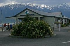 De post van het walvishorloge in Kaikoura, Nieuw Zeeland stock foto's