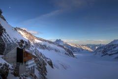 De Post van Jungfrau en Aletsch Gletsjer, Zwitserland Stock Foto