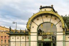 De Post van Karlsplatzstadtbahn Royalty-vrije Stock Foto