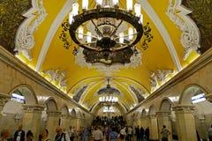 De post van de Komsomolskayametro in Moskou, Rusland Stock Foto's