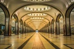 De post van de Mayakovskayametro in Moskou, Rusland stock afbeeldingen