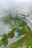 De post van Pilatuskulm dichtbij de top van Onderstel Pilatus Stock Foto's