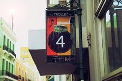 De post van San Juan Streets- Trolley Royalty-vrije Stock Afbeeldingen