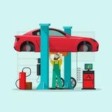 De post vectorillustratie van de autoreparatie, mechanische mens die auto in workshopgarage herstellen Stock Afbeelding