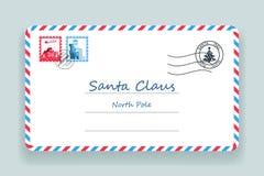 De Post Vectorillustratie van Santa Claus Christmas Mailing Address Letter Royalty-vrije Stock Afbeelding