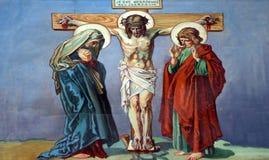 12de Posten van het Kruis, de matrijzen van Jesus op het kruis Stock Afbeelding