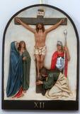 12de Posten van het Kruis, de matrijzen van Jesus op het kruis Stock Fotografie